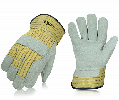 Vgo 3Pairs Cow Split Leather Men's Work Gloves with Safety Cuff