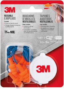 3M Corded Reusable Ear Plugs, 3-Pair