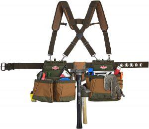 Bucket Boss Airlift 2 Bag Tool Belt with Suspenders in Brown