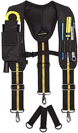 Padded Tool Belt Suspenders With Phone Pocket/Pencil Sleeve/Adjustable Straps