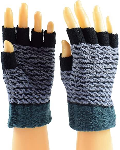 Juruaa Women's Knit Fingerless Work Gloves