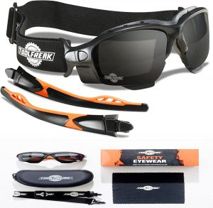 ToolFreak Spoggles - Safety Glasses & Protective Goggles Combination Smoke Lens